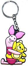 Piglet Hugging Teddy PVC flexible novelty keyring    (ff)