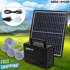 Solar Panel Power Generator Kit | Portable Battery Pack Power Station w/ 4 Bulb