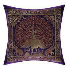 Indian Pillow Case Peacock Brocade Silk Brown Single Cushion Cover Throw 12X12