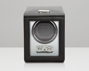 WOLF Heritage Brushed Metal Single Watch Winder with Cover 270003 NEW