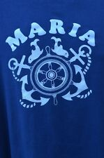 Vintage Maria Nautical Anchor Whale Sailing Ship T Shirt Medium Iron On Letters