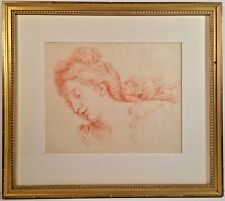 Old Master Early French School Red Chalk On Paper Painting Woman With Curls