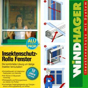 Windhager Insektenschutz Rollo Fenster 160x160cm Braun Fliegengitter 03867