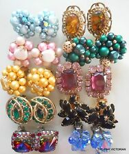Vintage Earring LOT (10)pc GORGEOUS high end designer COLLECTION signed *SPARKLY