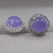 Hot Sale 18k GP Alloy With Purple Jade Round Zircon Lace Stud Earrings 20x15mm