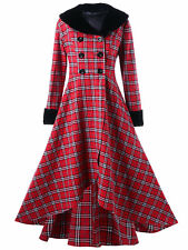 Women Winter Double Breasted Plaid Swing Coat Plus Size Long Jacket Casual Parka