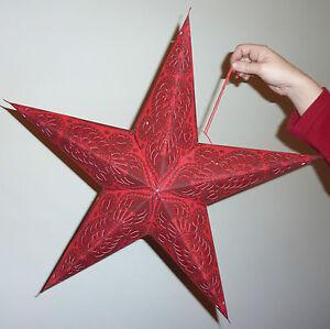 Diwali, Christmas & Wedding 5 Point Star Lampshade Red Paisley