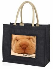 Shar-Pei Puppy 'Yours Forever' Large Black Shopping Bag Christmas Pre, AD-90yBLB
