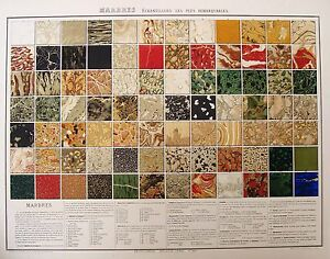 Bouasse Lebels  MARBRES ECHANTILLONS LES PLUS REMARQUABLES Chromolithograph 1870