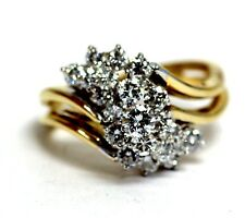 18k yellow gold 1.38ct VS2-SI1 G round diamond cluster ring 6.8g vintage estate
