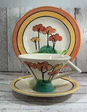 More details for past times art deco clarice cliff style trio cup saucer plate - tall trees
