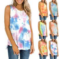 Womens Summer Holiday Vest Cami T Shirt Ladies Loose Tie-Dye Print Top Blouse UK