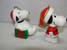 2 Ceramic Peanuts Japan Taiwan Snoopy Ornaments w Wreath & Flying Ace