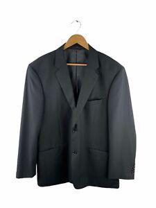 Ambassador Button Up Blazer Suit Jacket Mens Size 46SH Black Lined Collared