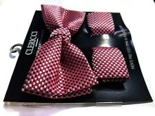 MENS BOW TIE GEOMETRIC RED TIE POCKET SQUARE PRE-TIED BOW ADJUSTABLE CLIP