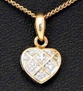 9CT GOLD PENDANT, SMALL GOLD AND DIAMOND HEART PENDANT