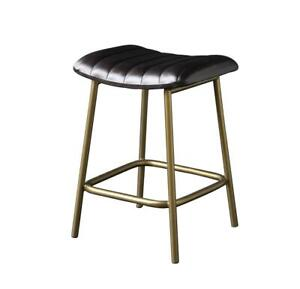 ENFIELD Low Stool with Black Ribbed Buffalo Leather and Brass Colour Leg 52 cm