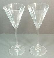 """Set of 2 Grey Goose Vodka Etched Martini or Cocktail Glasses 3 Oz 7.5"""" Stemmed"""