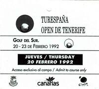 Ticket - Golf - Tenerife Open 20-23 February 1992