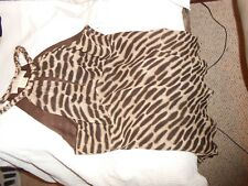 Michael Kors Top Shirt Brown Beige Tones Size 4P