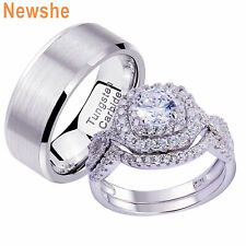 Newshe Wedding Ring Sets For Him Her Sterling Silver Cz Women Men Tungsten Band