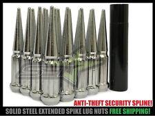 20 Chrome Spline Spike Lug Nuts + Security Key 12X1.5 Fits Most JDM Honda Acura