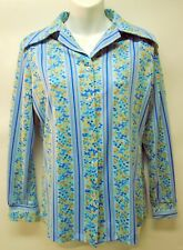 New listing Vtg 60's 70's Queen Casuals Polyester Blouse Button Up Top Blue Stripe Floral