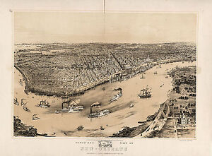 1851 Birds eye view Map New Orleans Mississippi River Home School Wall Poster