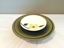 Vintage Plates Tiered Hand Made Hand Painted Green Floral