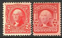 [MC2]   US #301& 319 MNH OG 1902-3  2c Washington Types ~ Fresh & Sound