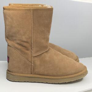 Ukala by EMU Sydney Low Sz8w Winter Boots Womens Tan Suede Merino Wool Lined