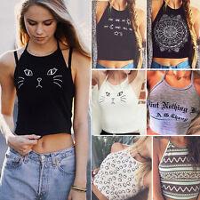 Summer Womens Casual Tank Tops Vest Blouse Halter Sleeveless Crop Tops Shirt Tee