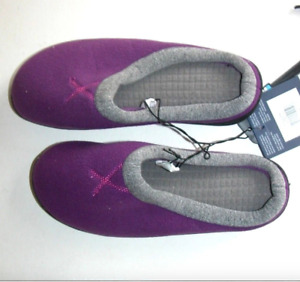 NEW NWT Isotoner Slippers Women Gray Black Purple SM 6.5-7 Shoes