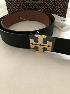 "TORY BURCH T LOGO Reversible Black & Classic Tan Leather Belt 1.5 "" Size Sm  New"