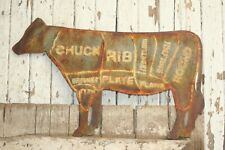 Cow Meat Parts Beef Cut Vintage Rustic Sign