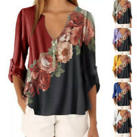 Womens Boho Floral V-Neck Loose Shirts Ladies Casual Long Sleeve Blouse Tee Tops
