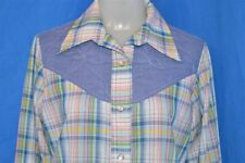 vintage 70s WOMENS PLAID CHAMBRAY YOLK WESTERN PEARL SNAP COWBOY SHIRT LARGE L