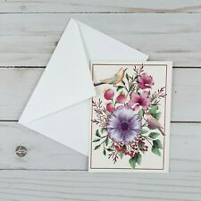Greeting Note Cards Floral Flowers Birds 6 Count Blank