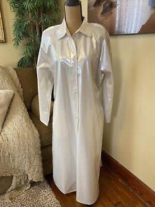 VTG Ken Sporn Wippette Pearl White Raincoat PVC Long Vinyl Raincoat Slicker Med
