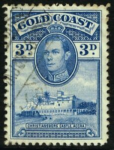 SG 124 GOLD COAST 1938 - 3d BLUE (perf. 12) - USED