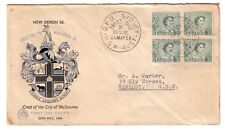 "1959 FDC Australia. 3d Green QEII. Block 4. ""Black"" WCS cover."