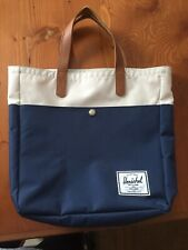 Herschel Tote Bag Blue And White Leather Handles