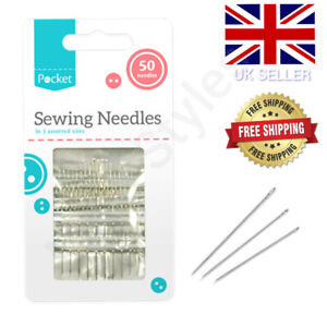 SEWING NEEDLES 50 PACK 3 ASSORTED SIZES HAND EASY THREAD BIG EYE SET LARGE PACK