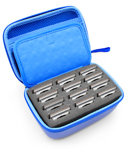CM Clipper Blade Case for Barbers fits 12 blades Andis, Oster, Wahl & More, Blue