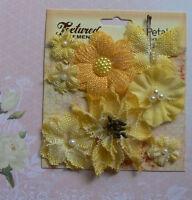 BURLAP Textured YELLOW Combination 7 flower & 1 Butterfly Mix 20-55mm Petaloo
