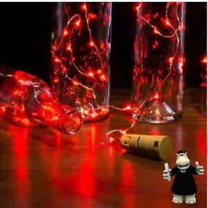Red Bottle Cork LED Fairy Lights 2 Metre (20 Lights) Batteries Included