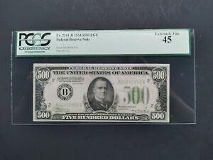 1934 $500 LGS LIGHT GREEN SEAL FRN PCGS XF 45 Fr.2201-B