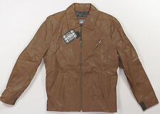 Electric LE MANS Mens Genuine Leather Zipper Front Jacket Brown Medium NEW