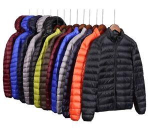 Mens Lightweight Cotton Down Coat Warm Puffer Jackets Quilted Outerwear Slim