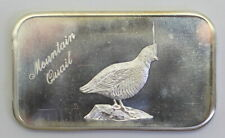 "The Justice Mint's ""Mountain Quail"" 1 Troy Ounce .999 Silver Artbar, JM-18"